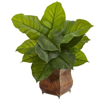 Silk Flowers -Large Leaf Philodendron In Metal Planter Artificial Plant