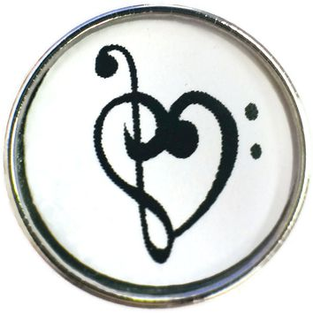 Music Note Thru Heart  18MM - 20MM Fashion Snap Jewelry Snap Charm New Item