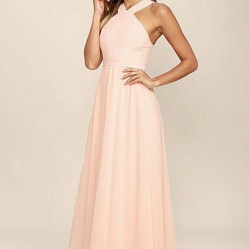 Air of Romance Peach Maxi Dress