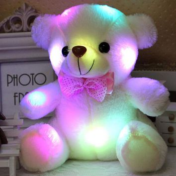 New Arrival 20CM Colorful Glowing  Luminous Plush Baby Toys Lighting Stuffed Bear Teddy Bear Lovely Gifts for Kids