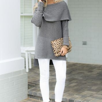 Notting Hill Charcoal Grey Off The Shoulder Sweater