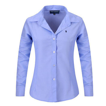 New Women Long Sleeve Pure Color Striped Blouses Turn Down Collar Casual High Street Woman Fashion Shirts Blusas Feminino