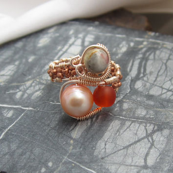 Fantasy Pearl Ring in Copper with Sea glass and Agate Adjustable
