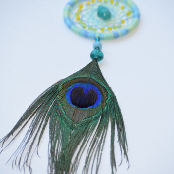 Car Decoration, Dream Catcher for Car Mirror,Turquoise stone,  Peacock Feather, Boho Dream Catcher.