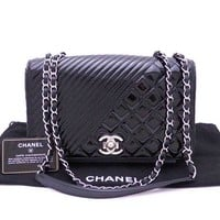Auth CHANEL CC Logo Double Chain Shoulder Bag Black/Silvertone *MINT - e32341