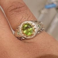 Aquamarine Ring Sterling Silver Persian Antique Design Genuine Gemstone Size 9 (Re-sizing is available for free)