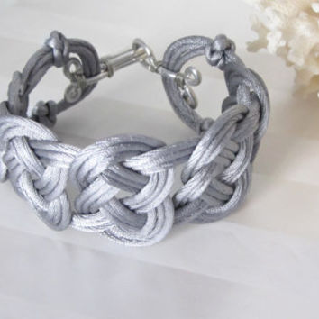 Celtic Knot Bracelet Hand Tied Double Coin in Silver Knotting Cord Cuff Style with Silver Wire Wrap Clasp Boho Style Gift for Her Good Luck