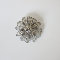 Silver Filigree Flower Brooch, Vintage, Art Deco Era, Pretty Floral Pin