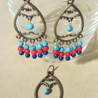 Handmade Turquoise, Red Coral & Lapis Lazuli Bronze Pendant and Earrings Set, Fashion Jewelry, Ladies Gift, Bold Colors, Statement Jewelry
