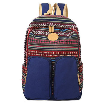 Unisex Ethnic Canvas Backpack Campus School Bookbag Travel Bag Daypack