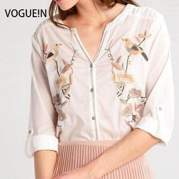 DKF4S VOGUE!N New Womens Floral Bird Premium Embroidered Long Sleeve White Shirt Blouse Tops Size SML