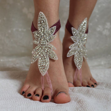 rhinestonePlum color ribbon binding,sandals,wedding shoes,bridal accesories,wedding foot jewelry,bridal anklet,wedding accessory