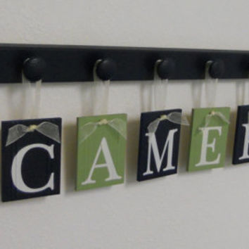 Blue and Green Nautical Nursery Decor Baby Name Hanging Wall Letters Sail Boats and 9 Wooden Peg Hanger Navy A Gift for CAMERON