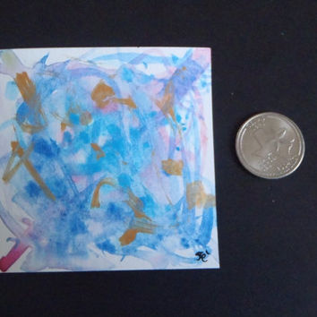 abstract art watercolor painting blue gold art made in italy gift birthday home decor wall art handpainted miniature mini lasoffittadiste