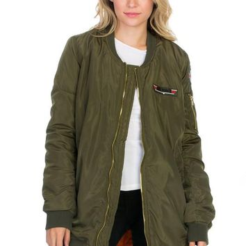 OLIVE Classic Quilted Zip Up Bomber Jacket