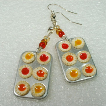Tray of Jam Tarts Earrings Polymer Clay by GiraffesKiss on Etsy