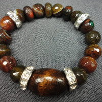 Autumn Mosiac Agate Gemstone and Dark Wood Bead Bracelet With Crystal Rings