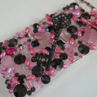 Bling Phone case |  custom iphone case | hard phone case with pink and black rhinestones,seed beads, stones, black key