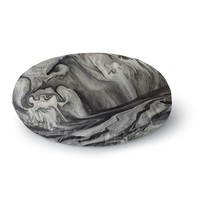 """Abstract Anarchy Design """"Inner Chaos """" Black Abstract Round Floor Pillow"""
