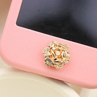 1 pcs  Bling Crystal  Flower iPhone Home Button by AppleCellphone