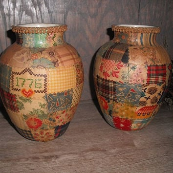 2 vintage decoupaged Arts and Crafts Vases ... Farm  house cottage chic .. tramp art patchwork .. BOHO