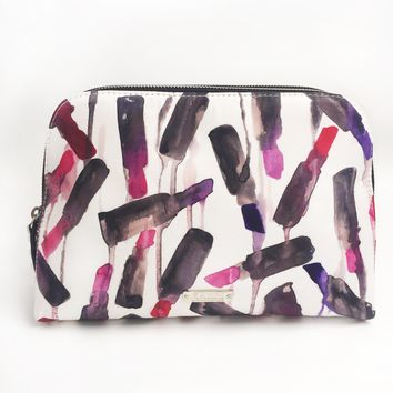 Lipstick Drip Extra Large Double Zip Clutch