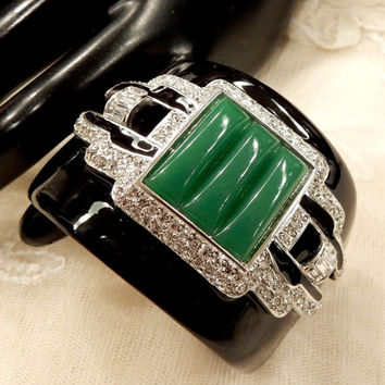KJL (Kenneth Jay Lane) Art Deco Design Faux Jade and Clear Rhinestone and Baguette Hinged Cuff