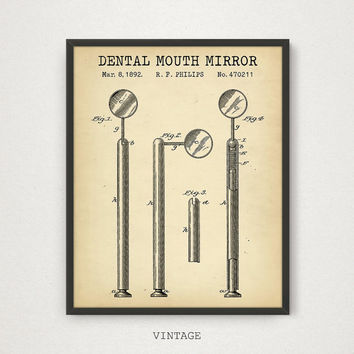 Dental Mouth Mirror Patent Art Print, Digital Download, Dentist Office Decor, Dental Print, Vintage Dental Art Blueprint, Gift For Dentist