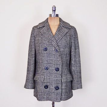 Black & White Herringbone Coat Tweed Coat Wool Coat Pea Coat Peacoat Swing Coat Swing Jacket 60s Coat 60s Jacket 60s Mod Coat Mod Jacket M