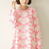 Harajuku Kawaii Lolita Pumpkin Lamp Loose Round Collar Long Sleeve Dress - Pink or Blue from Tobi's Finds