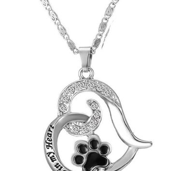 Always In My Heart Paw Pendant Necklace