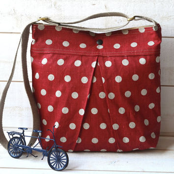 Medium Diaper bag / Shoulder Bag / Cross body bag -Eco Polka dots deep Red Ecru Linen SPRING FASHION