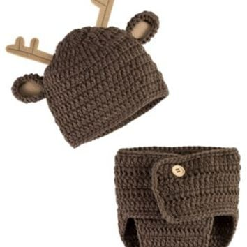Bass Pro Shops Crochet Deer Hat and Diaper Cover Set for Babies | Bass Pro Shops