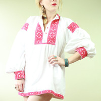 Vintage - 70s - Boho - Hippie - Ethnic - Hungarian - Red Embroidered - Poet Sleeve - White Cotton - Tunic Top - Shirt - Mini Dress - Unisex