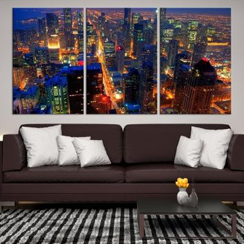 19008 - Chicago Wall Art Canvas Print - Extra Large Chicago City Night Canvas Print