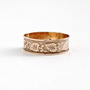 Antique Victorian 8k Rose Gold Leaf Ring - Size 6 Vintage Late 1800s Floral Wedding Cigar Band Fine Jewelry