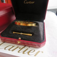 AUTHENTIC /CARTIER 18K YELLOW GOLD LOVE BRACELET SIZE 17 WITH BOX