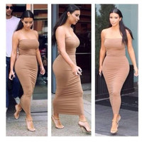 Sexy Women Strapless Slim Stretch Bodycon Party Cocktail Club Tube Midi Dress Tube Top Dresses Collar