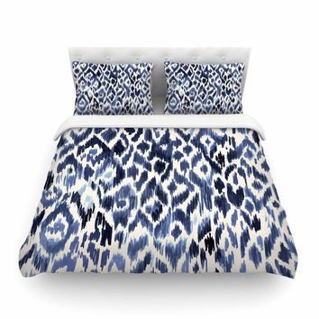 "Crystal Walen ""Leopard Tribal"" - Indigo Watercolor Featherweight Duvet Cover"