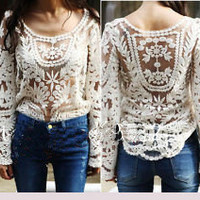Fashion Gradient Perspective Long-sleeved Shirt