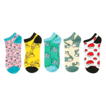 Pokemon Poke Ball Print No-Show Socks 5 Pair