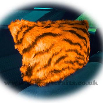 Tangerine Orange and black fuzzy faux fur tiger stripe headrest covers