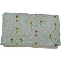 Beige Queen Size Ikat Kantha Quilt Bed Cover