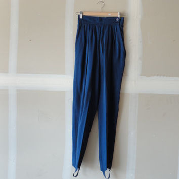 vintage stirrup pants navy pants 80s pants women's vintage clothing
