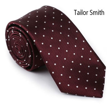 Tailor Smith Designer Polka Dot Tie Mens Luxury Pure Silk Burgundy Necktie Business Wedding Dress Suit Cravat Handmade Gravata