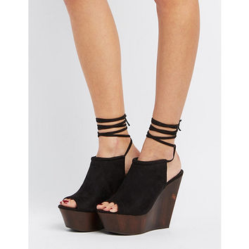 Lace-Up Platform Wedge Sandals