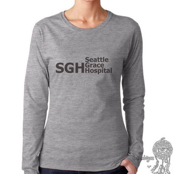 SGH Seattle Grace Hospital on Longsleeve Women tee (G4400L Gildan Junior Fit Soft Style)