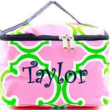 Bridesmaid Gift Pink and Lime Quatrefoil Monogrammed Cosmetic Bag  Quatrefoil Cosmetic Bag  Monogrammed Makeup Bag