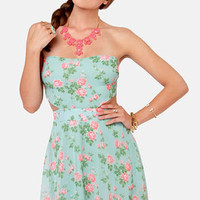 Rose'n Custard Light Blue Floral Strapless Dress