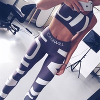 Hot Popular Women Casual Sport Two-Piece Yoga Exercise Suit Outfit a13061